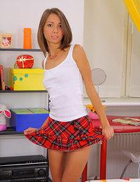 Cute teen in schoolgirl uniform fucked by black cock